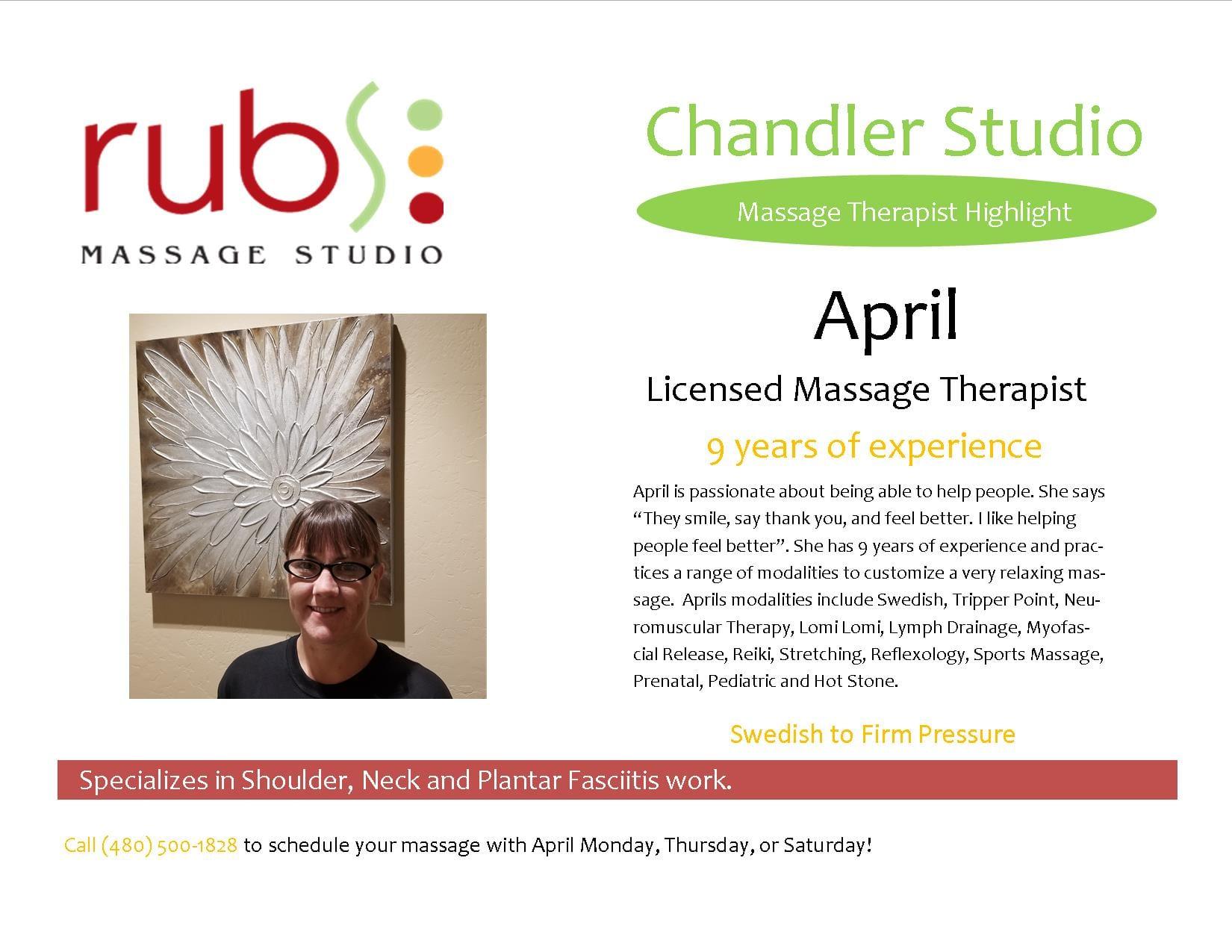 massage chandler therapist - April
